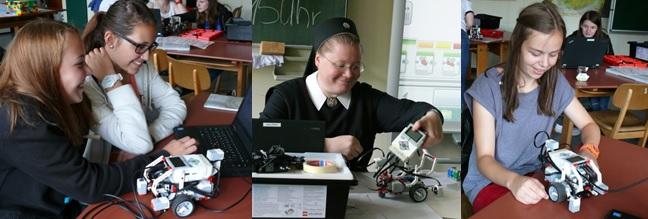 Projektteilnehmerinnen beim Roboter-Bauen.